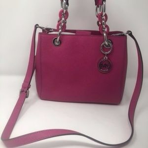 Cynthia Raspberry Small Leather Satchel